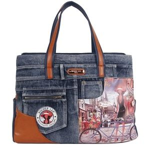Nicole Lee Wanda Denim Print Overnighter